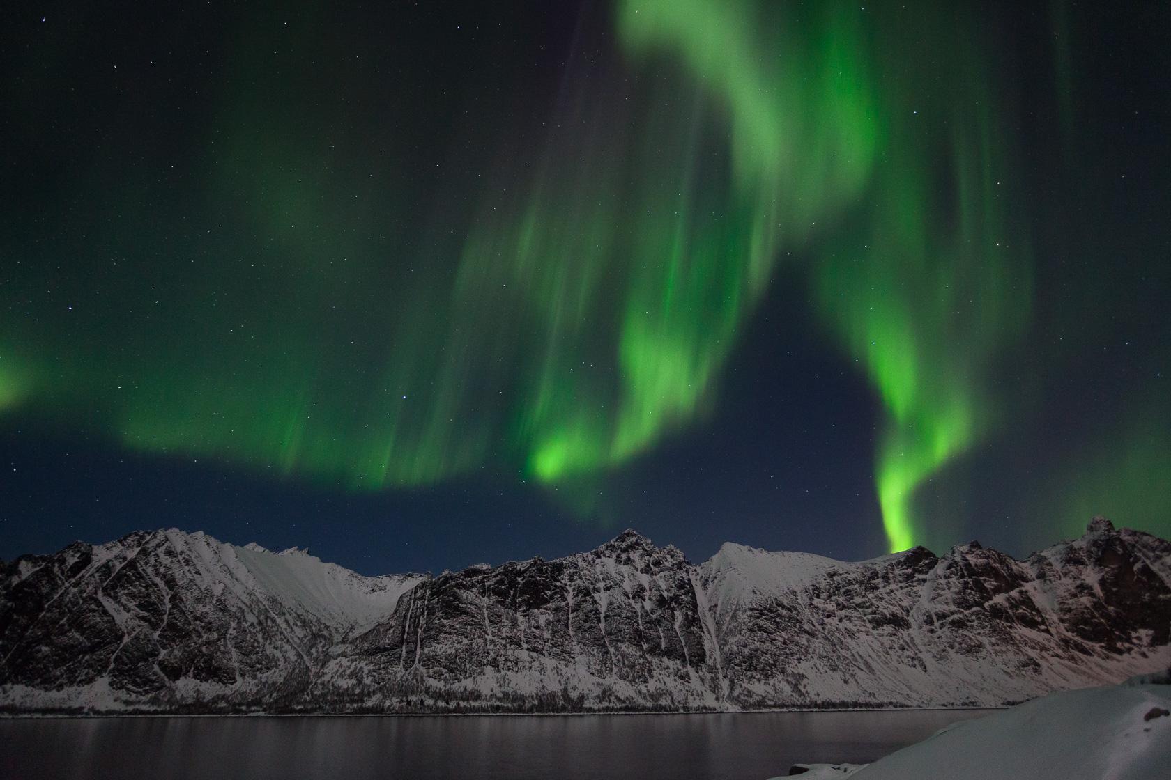 aurore boréale sur l'Ersfjorden, dans l'île de Senja, en Norvège