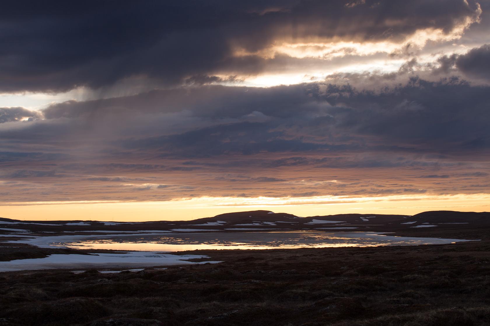 soleil de minuit sur le plateau du parc national de varanger, en Norvège