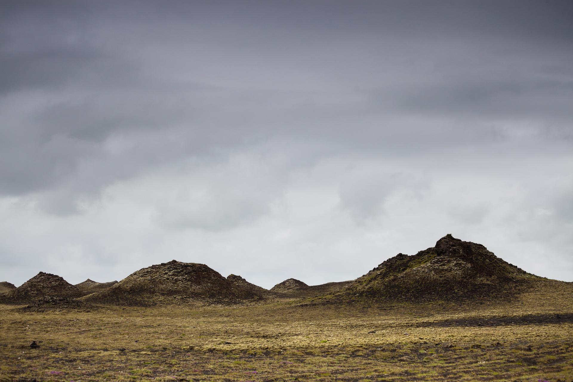 cônes volcaniques dans le sud de l'Islande