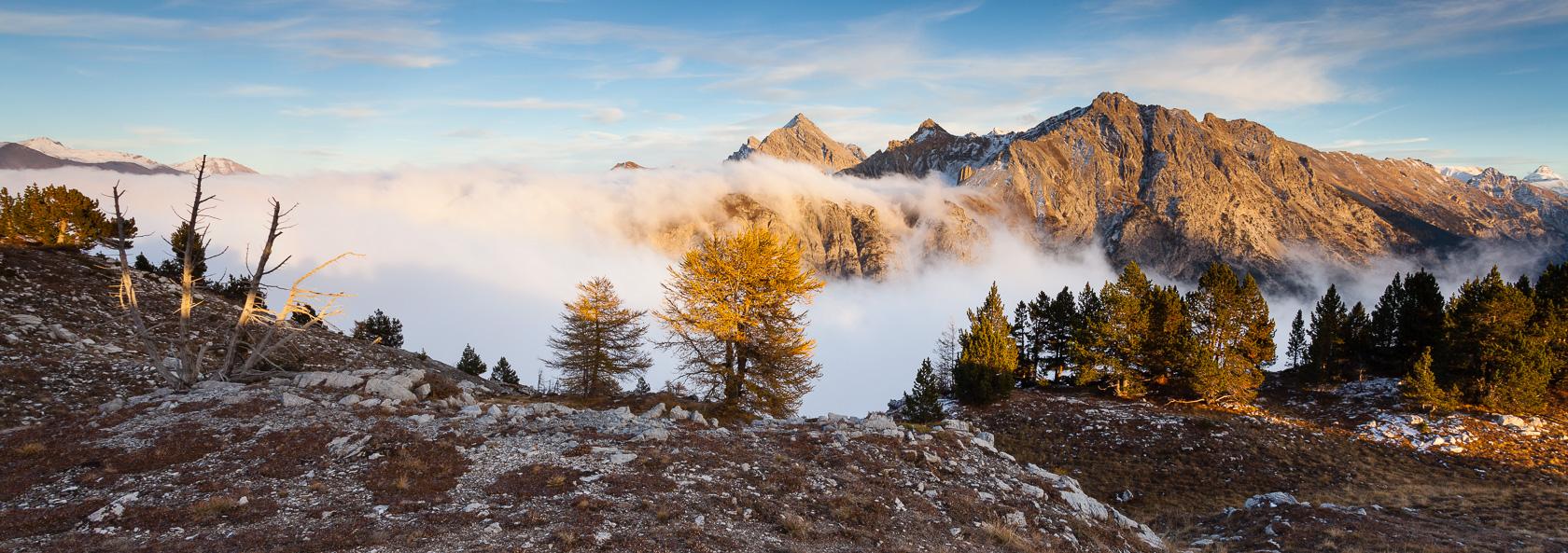 Sommet du Guiau à la frontière italienne, dans les Hautes Alpes