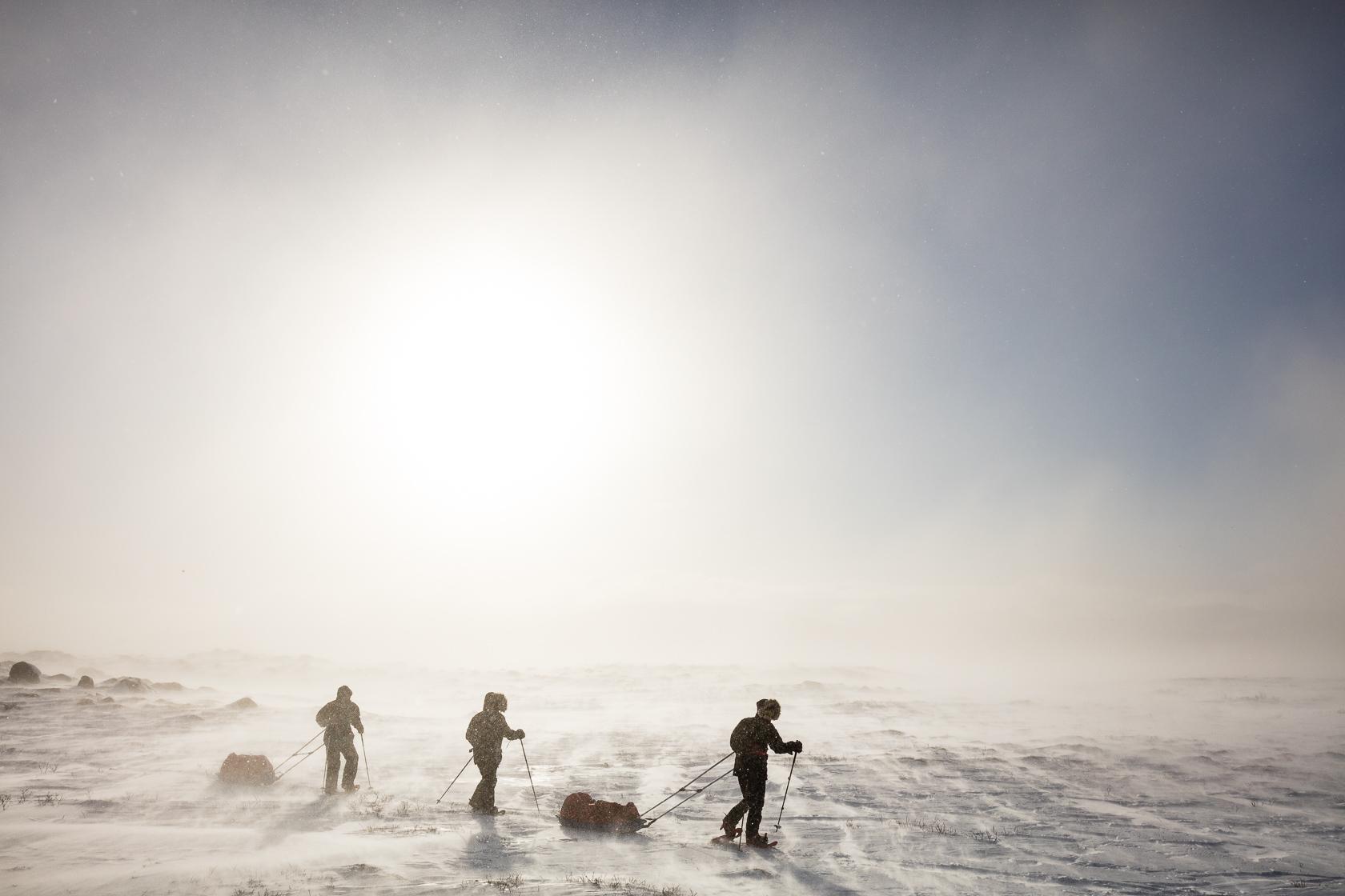 groupe de photographes avec des pulkas dans le Dovrefjell en hiver