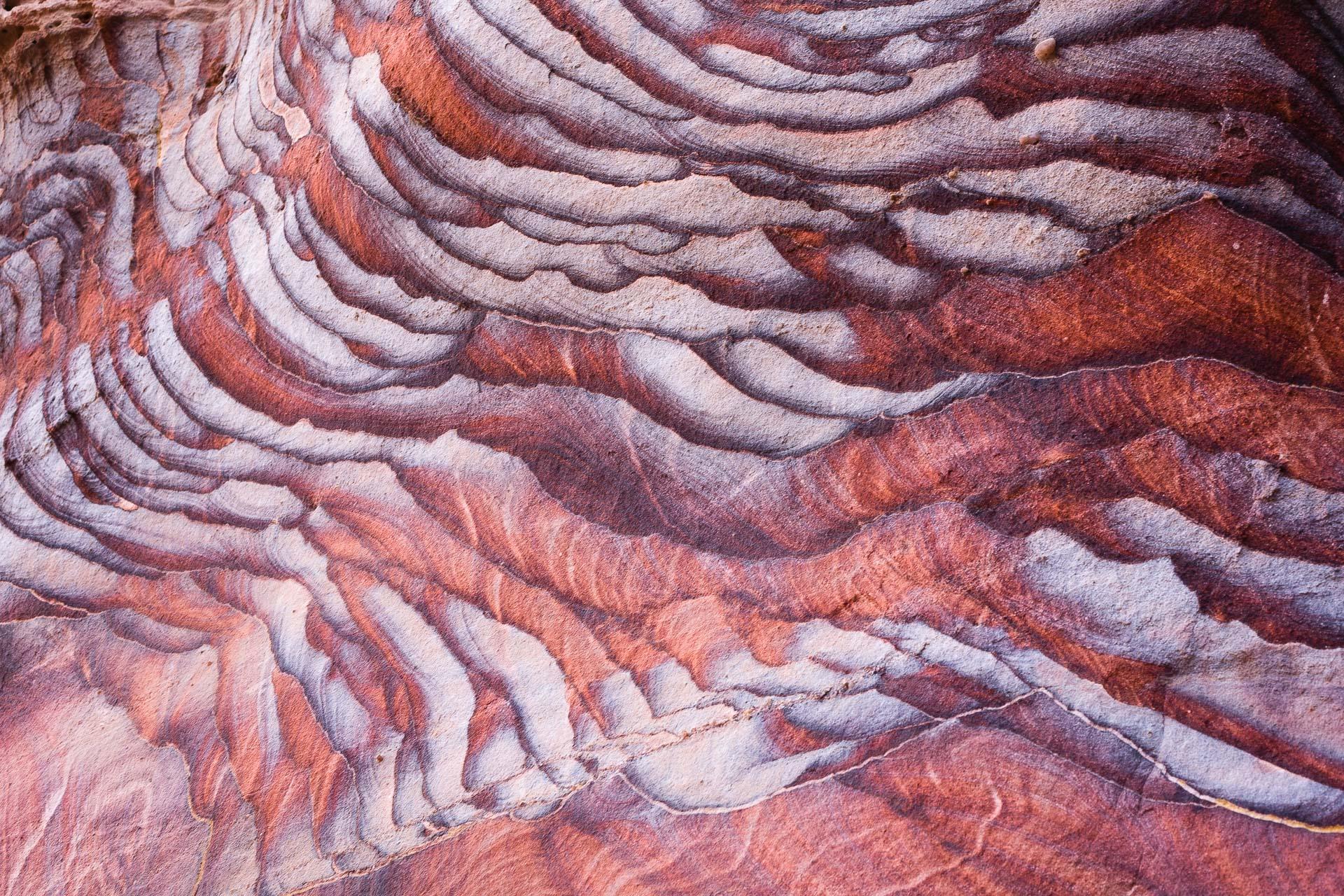 couleurs du grès à Petra en Jordanie