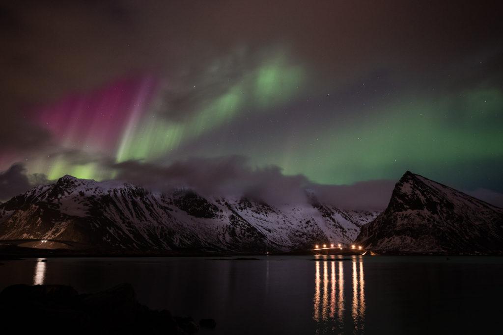 aurores boréales au-dessus de Fredvang, en voyage photo aux Lofoten